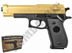 HA-106 BB Gun Double Eagle Replica Spring Airsoft Pistol 2 Tone Gold Black